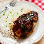 Looking for a quick weeknight dinner idea? This delicious Baked Soy Chicken Recipe has only 5 ingredients. Serve with rice or veggies on the side