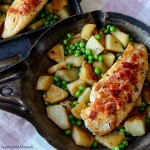 This delicious Chicken Bacon One Pot meal is perfect for an easy quick weeknight dinner idea. The chicken is cooked with potatoes and peas. Yum!