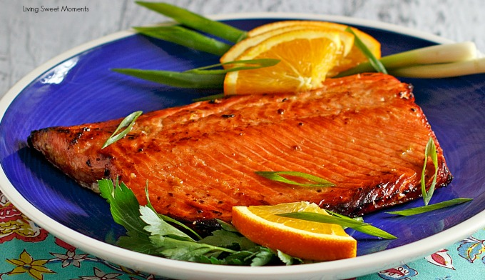Orange Ginger Glazed Salmon Recipe This delicious & elegant salmon Recipe is so sweet, tangy, and full of flavor! Perfect as an easy weeknight dinner idea.