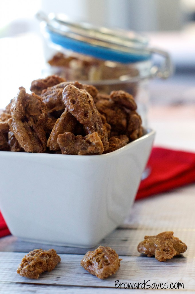 Super Easy Candied Pecans Recipe - Pecans are baked using a cinnamon sugar mixture. Great snack for entertaining and a topping for salads and other dishes.