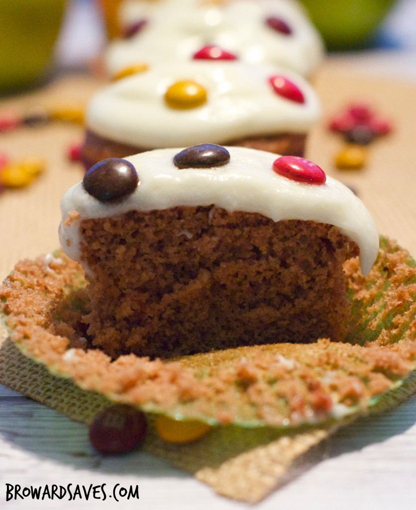 This amazing apple chocolate spiced cupcakes are topped with homemade cider frosting and delicious m&m's. The perfect kid-friendly dessert for fall!