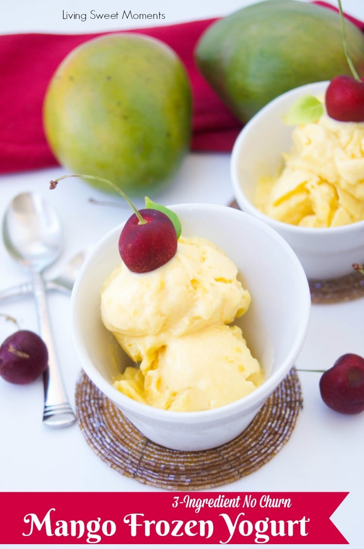 This creamy homemade mango frozen yogurt recipe only requires 3 ingredients to make and no ice cream machine needed. A perfect summer dessert for a hot day