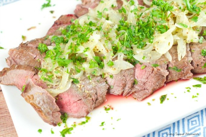 Easy Flank Steak Recipe made in 10 minutes with a tangy wine and mustard sauce. Easy enough to make on a weeknight and elegant enough to serve with company.