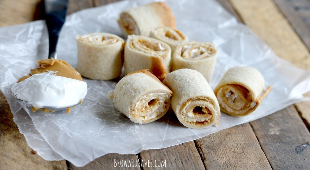 These easy peanut butter roll ups recipe requires only 3 ingredients and are the perfect fun snack to pack for the lunch box. No cooking needed!