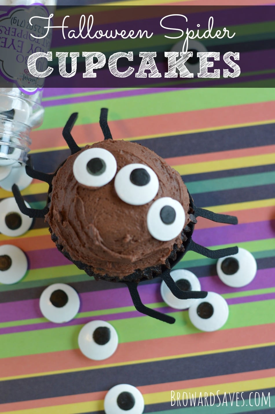 These delicious Halloween Spider Cupcakes are made with a yummy homemade chocolate frosting and cute candy eyes. Have the kids help you decorate the top. Yum!