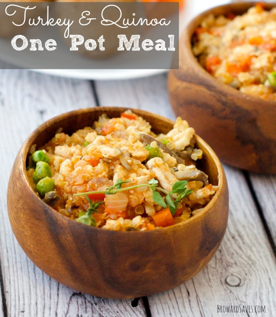 Easy Turkey & Quinoa One Pot Meal. So delicious and nutritious. Have it on your table in 20 minutes or less. Kids and adults love it and It's low Fat too!