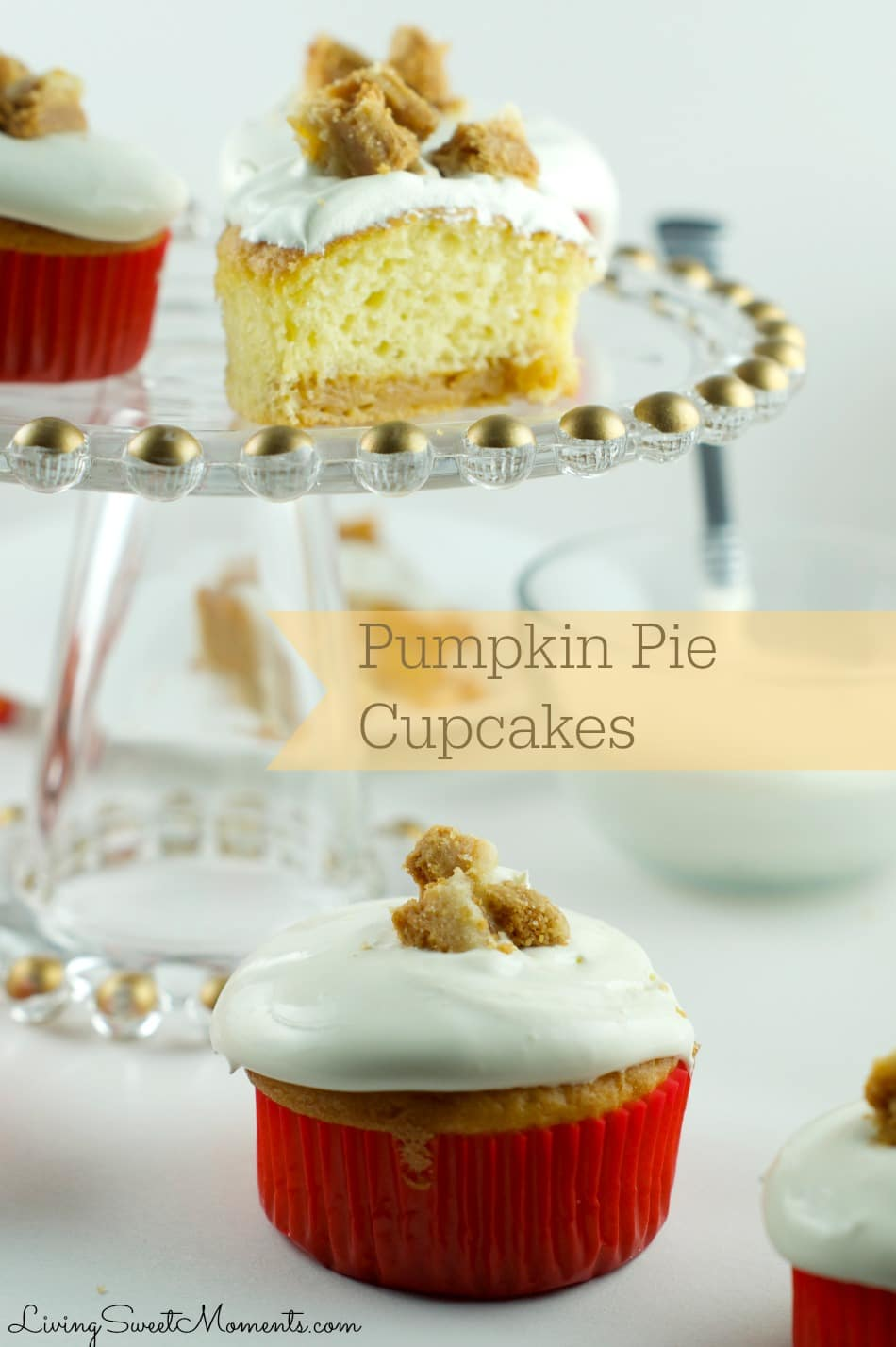 These Pumpkin Pie Cupcakes taste amazing. Delicious cake filled with pumpkin pie and topped with toasted crust. Perfect for fall or thanksgiving!