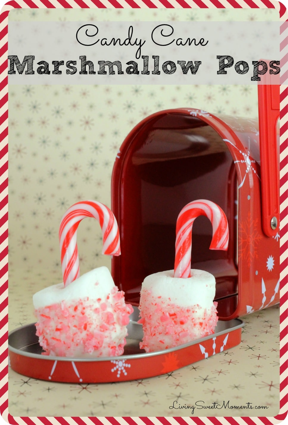 These easy to make Candy Cane Marshmallows are the perfect snack for the Holidays. Kids will have a lot of fun decorating these. They double as an ornament.