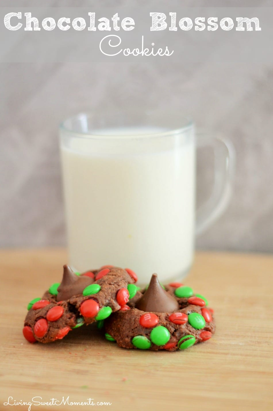 Delicious Chocolate Blossom Cookies made with M&M's and Chocolate Kisses! Easy to make and delicious. The cookies are soft on the inside and crunchy outside