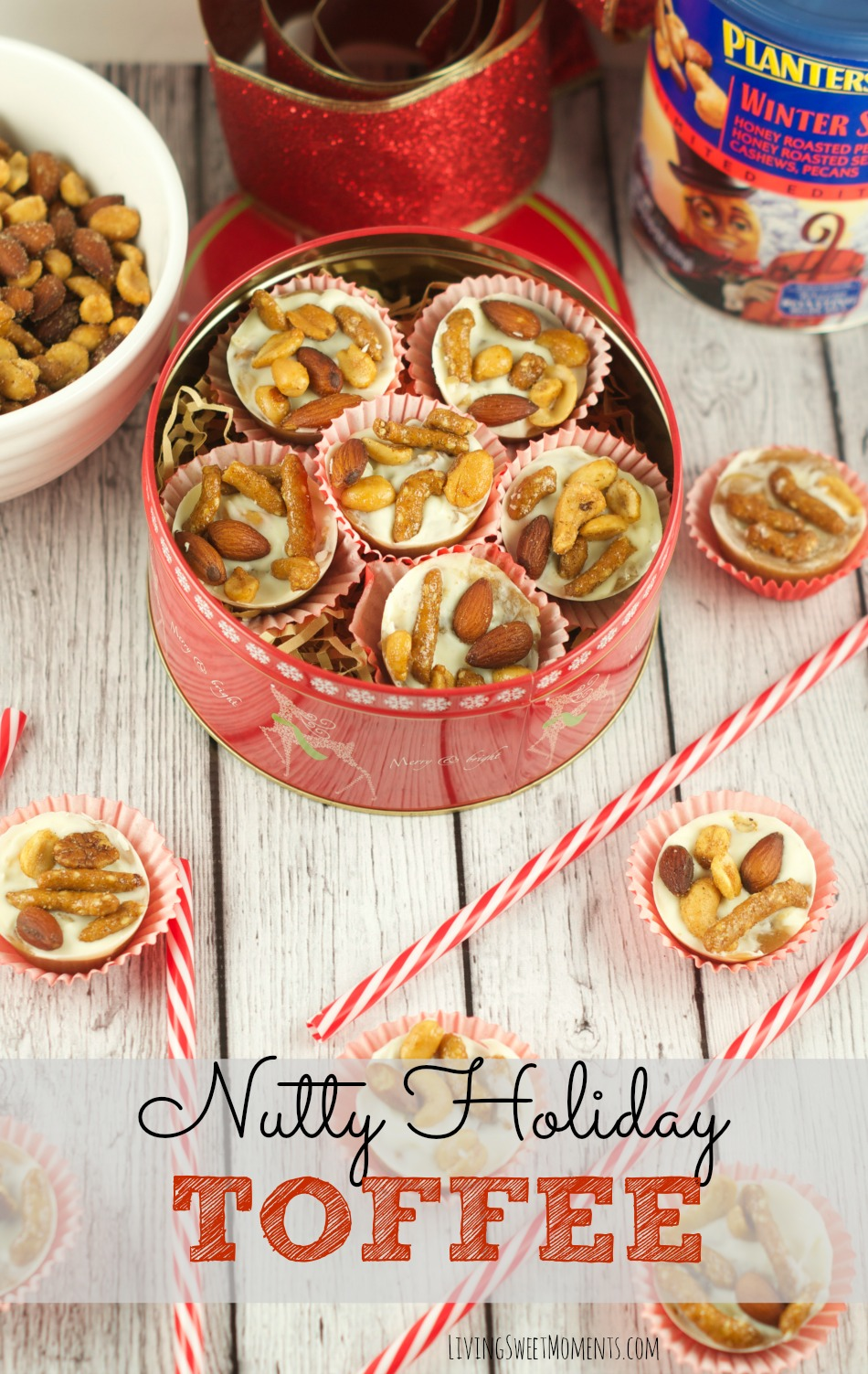 This delicious Holiday Spiced Toffee Recipe has nuts and white chocolate to kick the flavor up a notch. I love to make it in little muffin tins to give out.