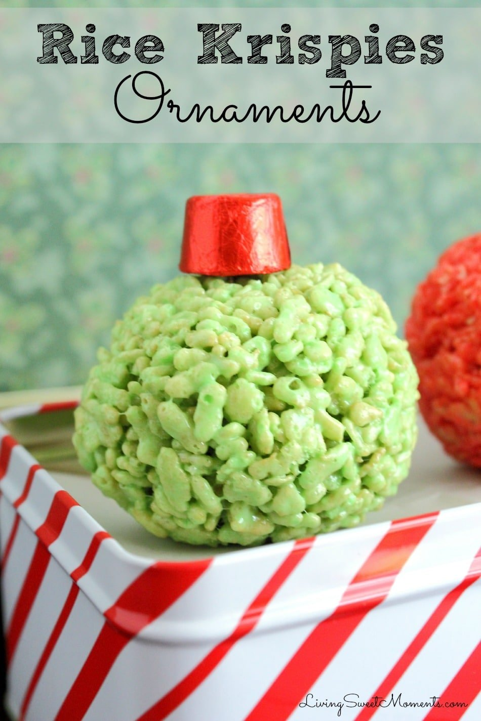 So simple and cute, these Rice Krispies Ornaments are made with just 5 ingredients. Top each one off with a Rolo or any other kind of chocolate for a realistic effect.