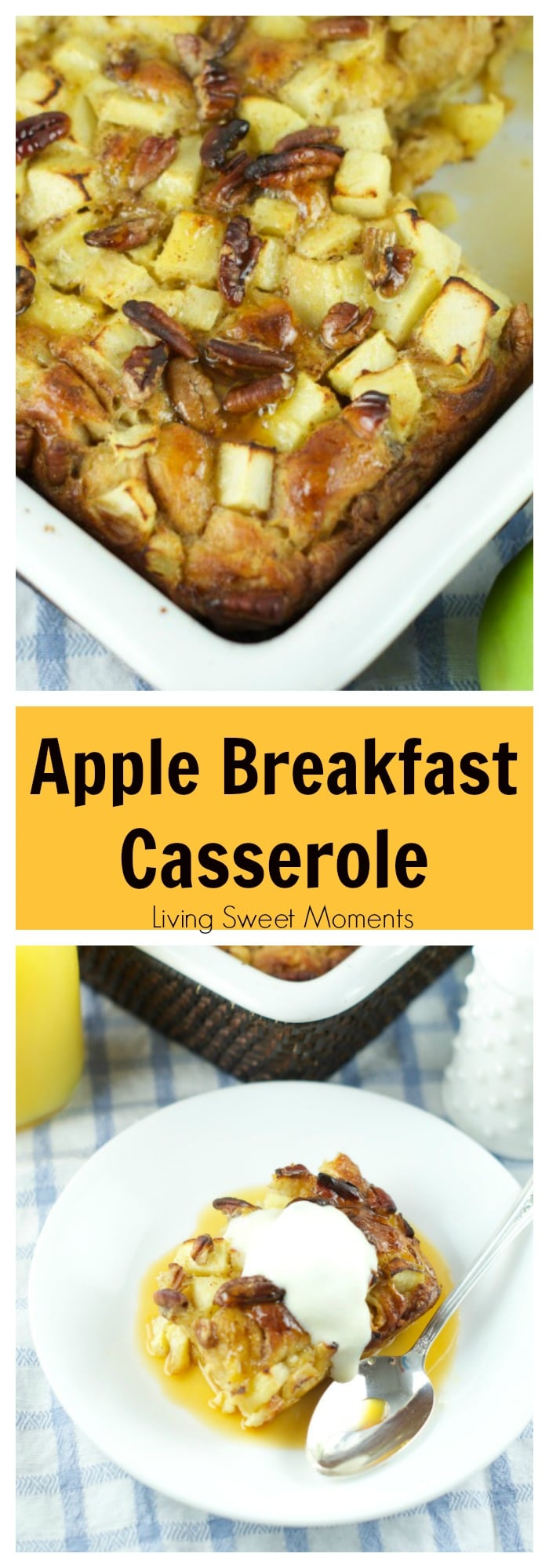 This delicious Cinnamon Apple bake with Orange Maple Glaze recipe is made with refrigerated cinnamon rolls. The perfect easy breakfast or brunch idea!