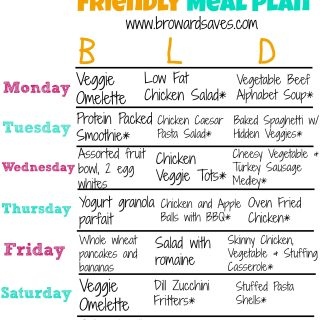 Low Fat And Kid Friendly Weekly Meal Plan