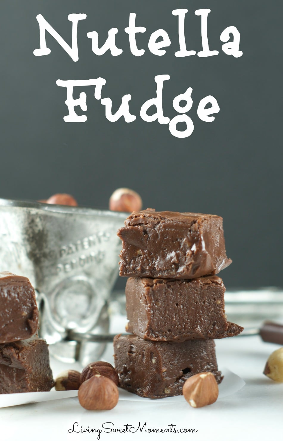This nutty Nutella Fudge Recipe is easy to make and decadent. Enjoy a soft, chewy texture that melts in your mouth. The perfect gluten free Holiday dessert.