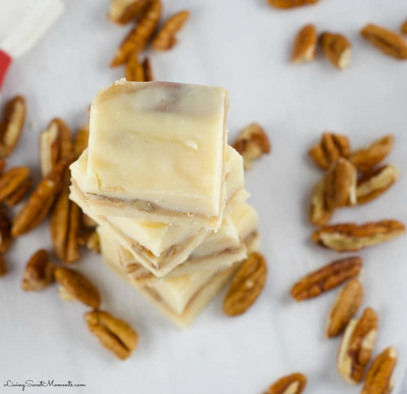 Soft, chewy and delicious, this easy to make pecan praline fudge recipe will melt in your mouth. The perfect gluten-free no bake dessert for any occasion.