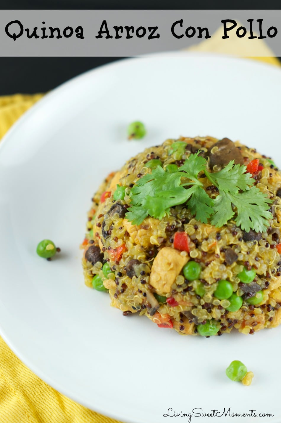 This delicious Quinoa Arroz con Pollo is the perfect one pot 30-minute weeknight dinner that is super easy to make. Enjoy this healthy latin twist tonight!