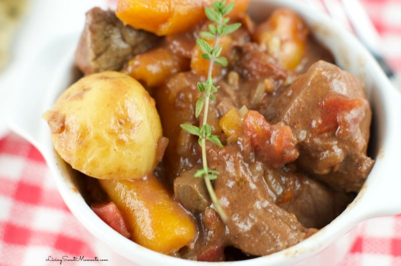 This easy to make Slow Cooker Smokey Beef Stew Recipe has a deep complex taste. The beef melts in your mouth! This is the ultimate comfort food.