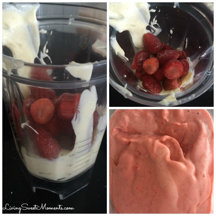 This creamy homemade strawberry frozen yogurt recipe only requires 3 ingredients to make and no ice cream machine needed. The perfect easy dessert!