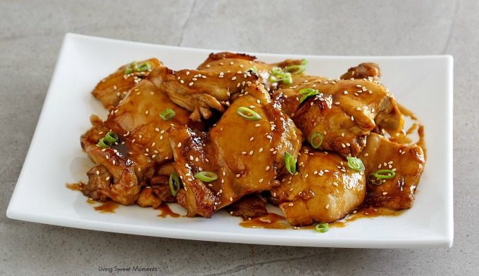 Asian Glazed Chicken Thighs - This easy dinner recipe requires only a few ingredients and is perfect to serve over rice. Perfect quick weeknight dinner idea
