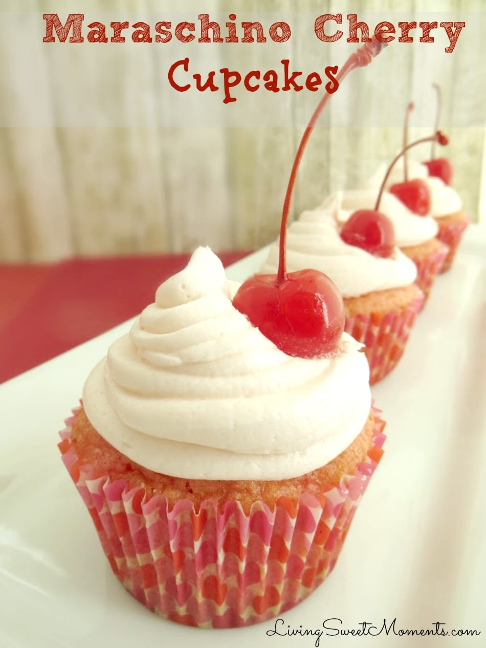 Maraschino Cherry Cupcakes - Delicious cupcakes with incredible cherry flavor. Easy to make and definitely a crowd pleaser.