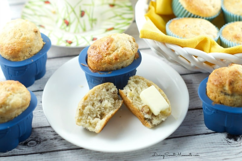 Banana Nut Muffins Recipe - They makes delicious, moist and sweet muffins. The secret is the use of sour cream in the batter. It gives them tons of flavor.