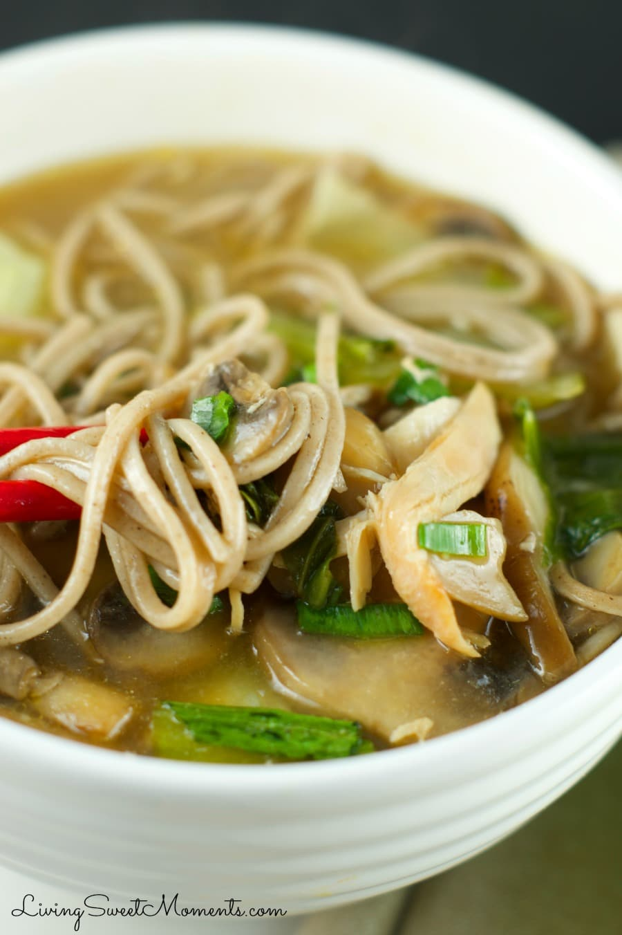 Chicken Soba Noodle Soup - Easy to make and delicious! A flavorful broth is served with soba noodles, chicken, bok choy and mushrooms in a comforting soup that will warm you during chilly nights.