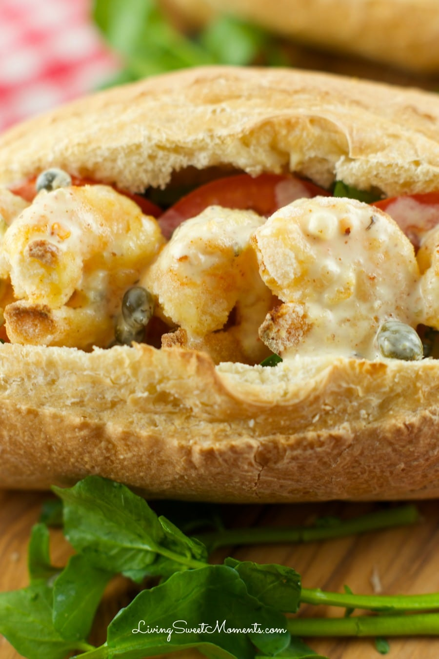 Shrimp Po'boys - served with a delicious creole Remoulade sauce. Shrimp is battered in cornmeal and oven fried to perfection. A perfect addition to your Mardi Gras celebration
