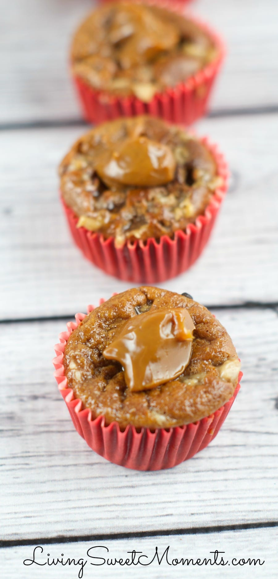 Banana Caramel Muffins - Gluten free muffins made in the blender! Just 5 ingredients are needed to make the moistest and most delicious muffins you will ever try.