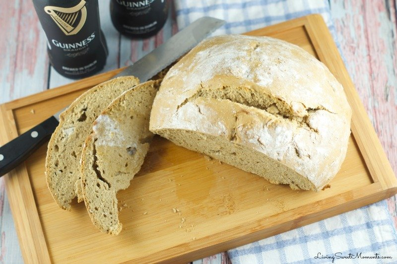 Guinness Irish Soda Bread - Delicious and easy to make homemade beer bread. Enjoy a deep flavor with without a lot of kneading. This bread requires no yeast at all!