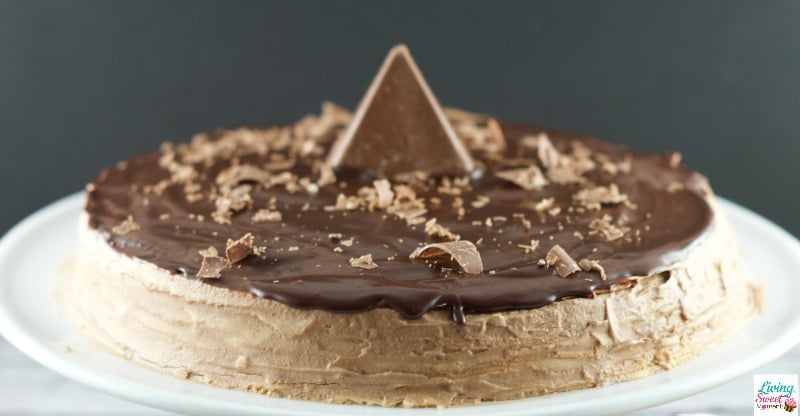 Toblerone Chocolate Crepe Cake - 30 crepes layered with Toblerone ganache and topped with a dark chocolate glaze. A simple, delicious and beautiful cake for entertaining.