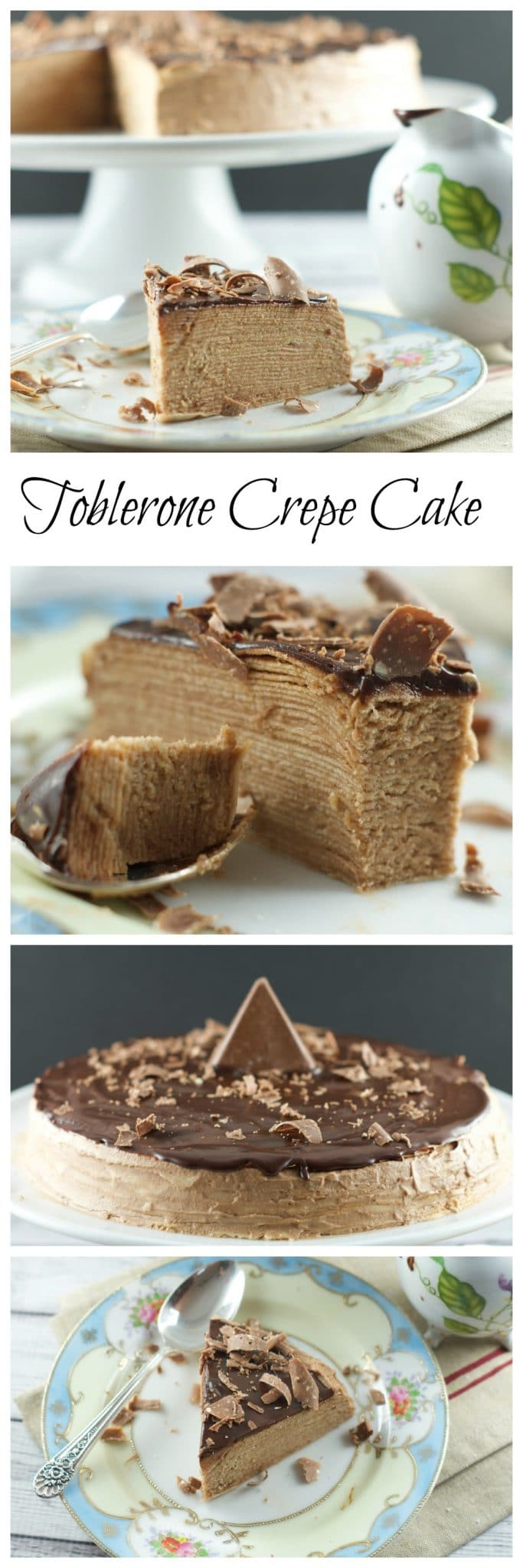 Toblerone Chocolate Crepe Cake – 30 crepes layered with Toblerone ganache and topped with a dark chocolate glaze. A simple, delicious and beautiful cake for entertaining