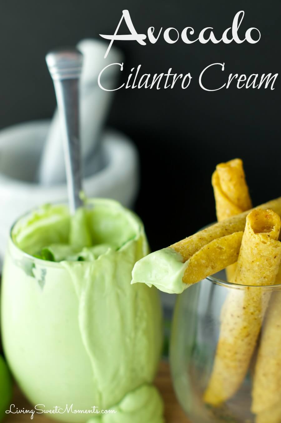 Avocado Cilantro Cream - Easy to make, Tangy dipping sauce for tacos and other Mexican goodies. Avocado, Cilantro, Lime and sour cream are blender together.