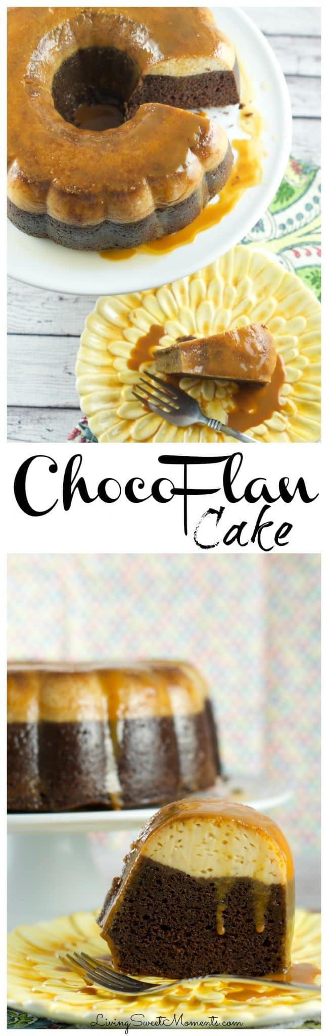 Chocoflan Cake Recipe - this easy latin cake is moist and delicious. A combination of flan and chocolate cake with a drizzle of caramel sauce. Perfect dessert