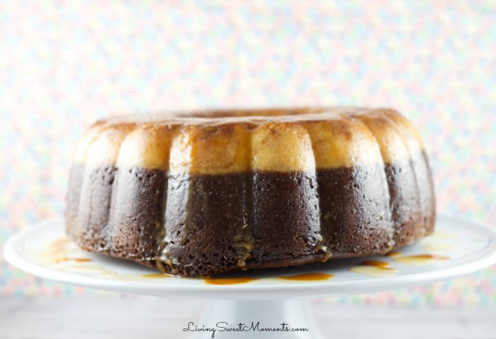 Chocoflan Cake - this easy latin cake is moist and delicious. A combination of flan and chocolate cake with a drizzle of caramel sauce. Perfect dessert.