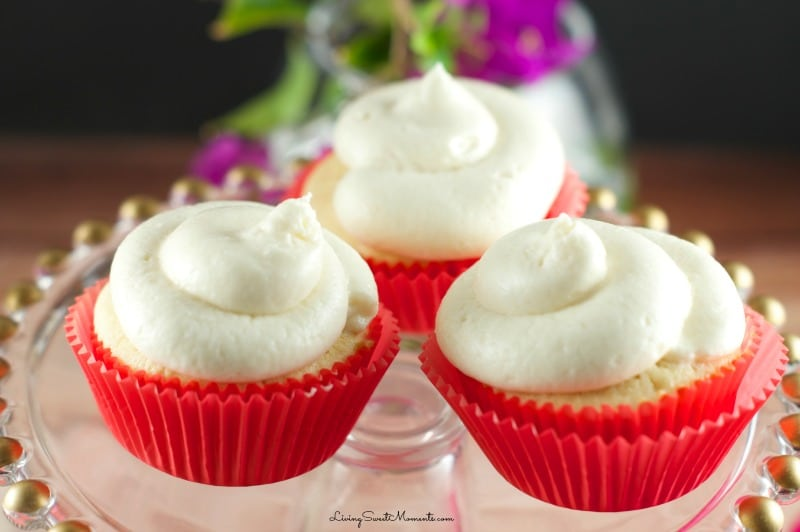 Irish Cream Cupcakes - These baileys cupcakes made from scratch are non-alcoholic, delicious, moist and very easy to make. They are topped with delicious baileys buttercream frosting.