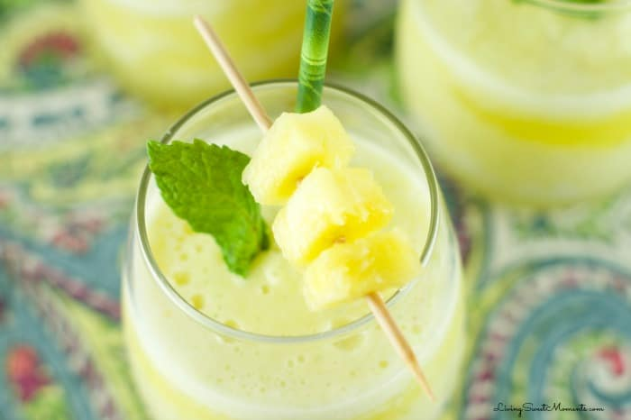 Pineapple Mint Smoothie - refreshing drink for Spring and Summer. Blended with lot's of ice for an interesting and flavorful tropical beverage without booze