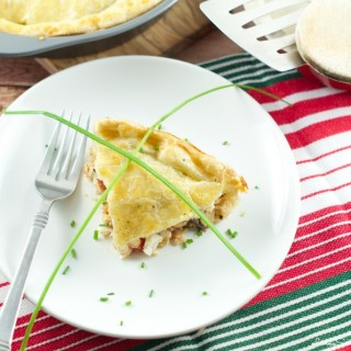 Chicken Ricotta Pie - layers of chicken, veggies and ricotta cheese inside 2 flaky pastries. Very easy to make and perfect for a quick weeknight dinner.