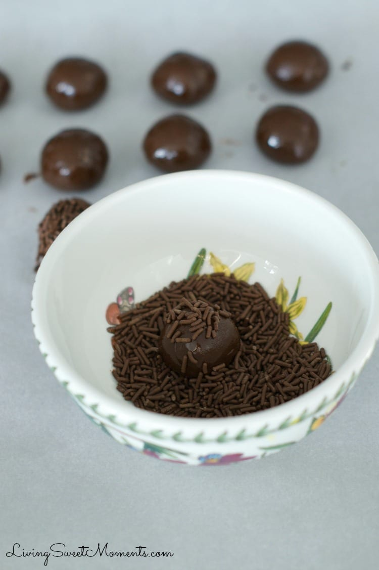 Brigadeiros - Brazilian Chocolate Fudge Balls AKA Brazilian Truffles. Easy to make and delicious dulce de leche & chocolate truffles rolled in chocolate or sprinkles. Super Sinful