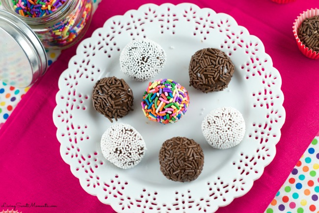 Brigadeiros - Brazilian Chocolate Fudge Balls AKA Brazilian Truffles. Easy to make and delicious dulce de leche & chocolate truffles rolled in chocolate or sprinkles. Super Sinful