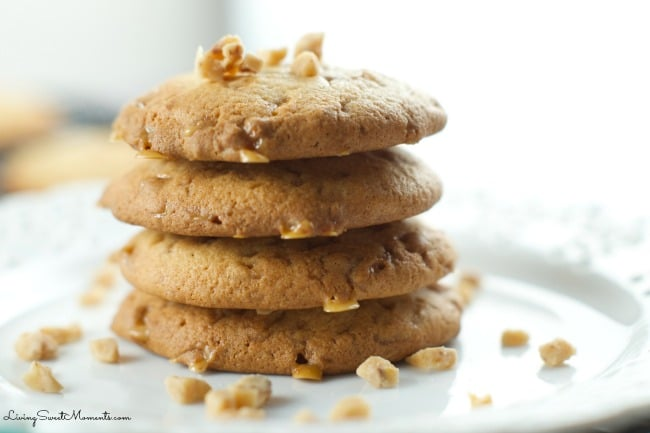 Butter Toffee Cookies - these delicious and easy to make chewy butter toffee cookies are made with heath bar bits to make them irresistible. A must recipe!