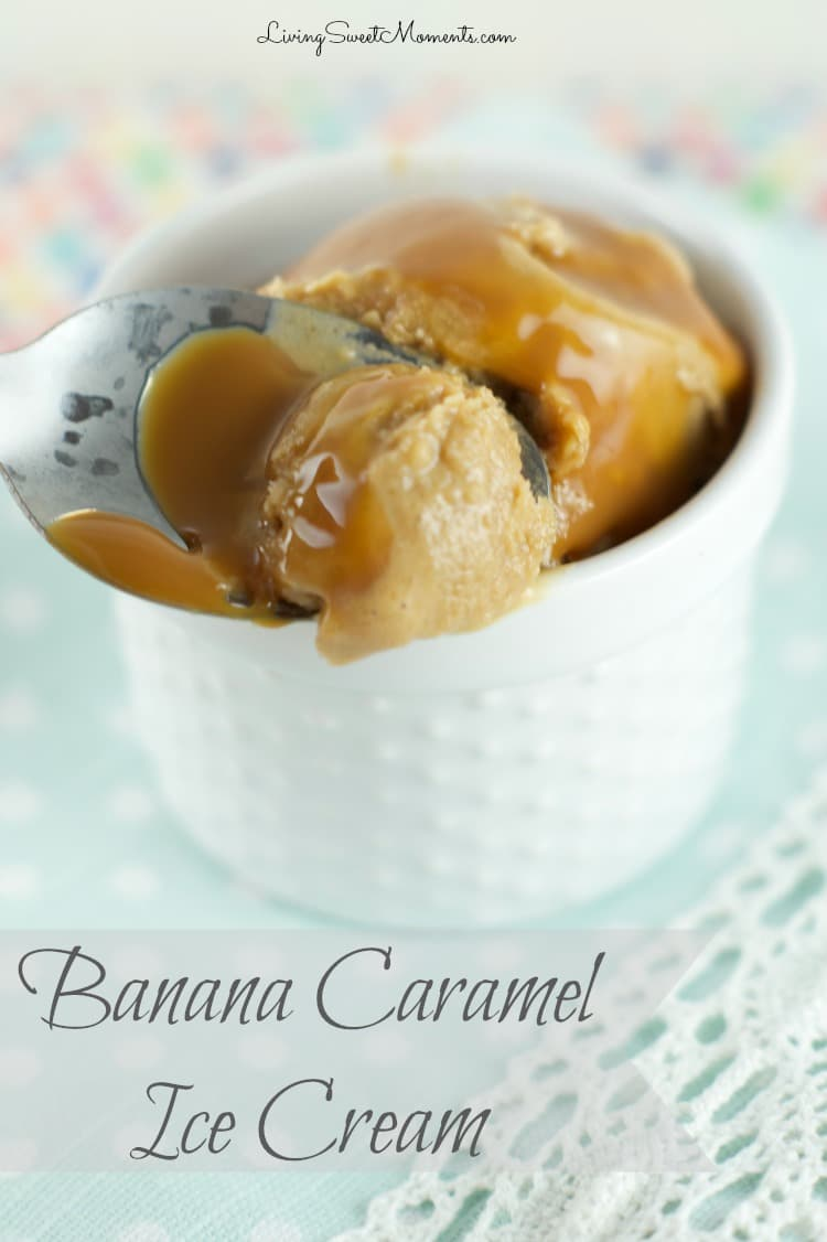 Caramel Banana Ice Cream - Only 2 ingredients and ready in seconds! Just toss ingredients in the blender and enjoy this delicious and creamy dessert. Yumm!