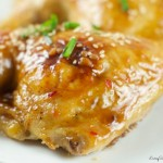 Chicken with Orange Plum Sauce - Roasted chicken glazed with sweet and sour orange plum sauce for a quick weeknight dinner idea. Easy to make and delicious.