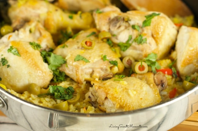 One Pot Spanish Chicken And Rice - Delicious and simple chicken dinner recipe flavored with saffron, veggies and stock that your family will love. I love it