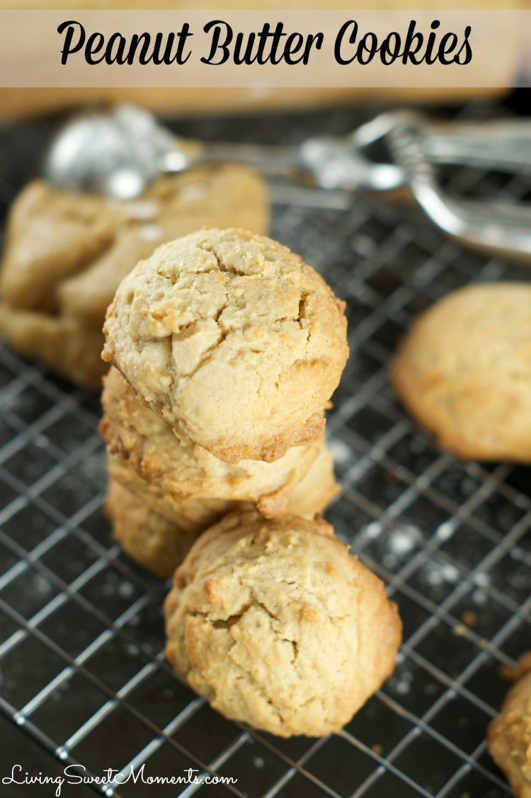 Easy Peanut Butter Cookies - these crumbly peanut butter cookies are super easy to make and perfect as a snack or dessert idea. These melt in your mouth yum