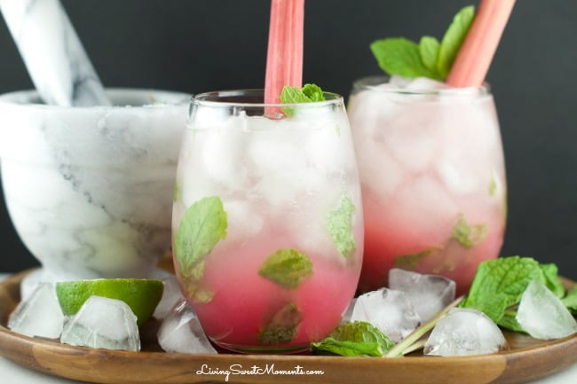 Rhubarb Mojito - delicious sweet cocktail that's refreshing and has lot's of flavor. Enjoy entertaining friends and family with this tasty tropical drink.
