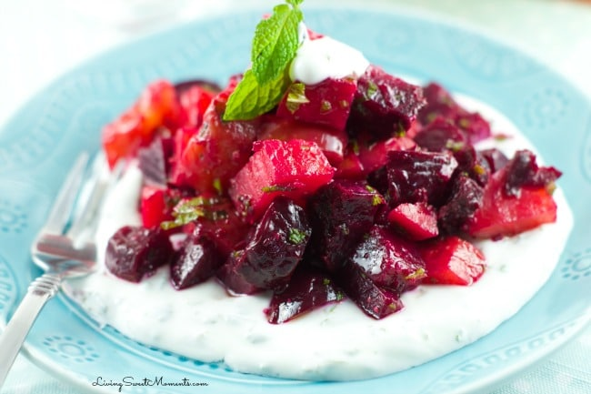 Roasted Beet Salad With Mint Yogurt - Delicious roasted beets tossed in a mustard balsamic vinaigrette and served with mint yogurt. Simple yet elegant salad
