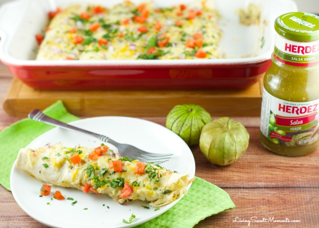 Easy Salsa Verde Chicken Enchiladas - Delicious creamy chicken enchiladas baked with a delicious salsa verde sauce. I used store bought chicken to save time
