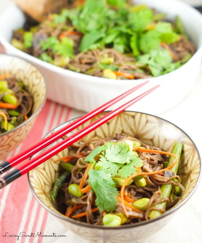 soba noodles with edamame and spring veggies - This delicious vegetarian one pot meal comes together in 5 minutes or less. Served with an asian sesame sauce
