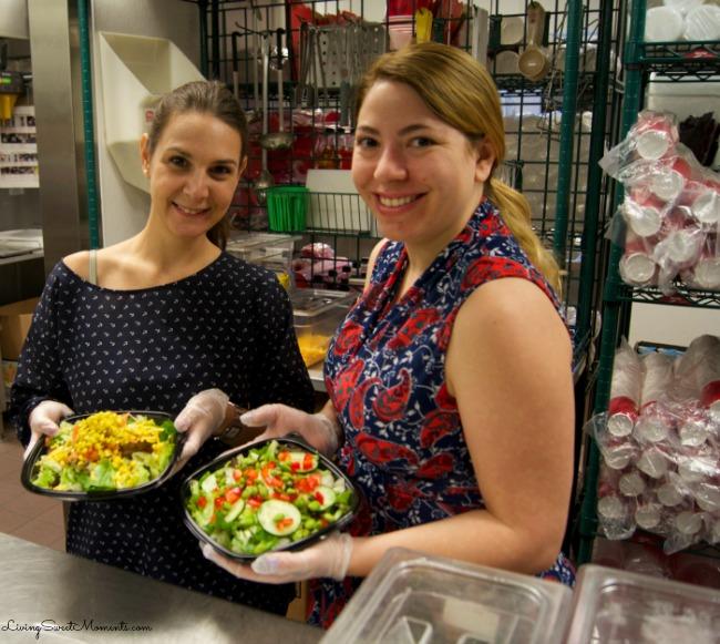 Making salads inside the Wendy's Kitchen
