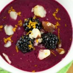 Mixed Berry Gazpacho - a refreshing smoothie bowl featuring berries, pineapple juice and yogurt topped with Brazil Nuts. Perfect breakfast or brunch recipe.
